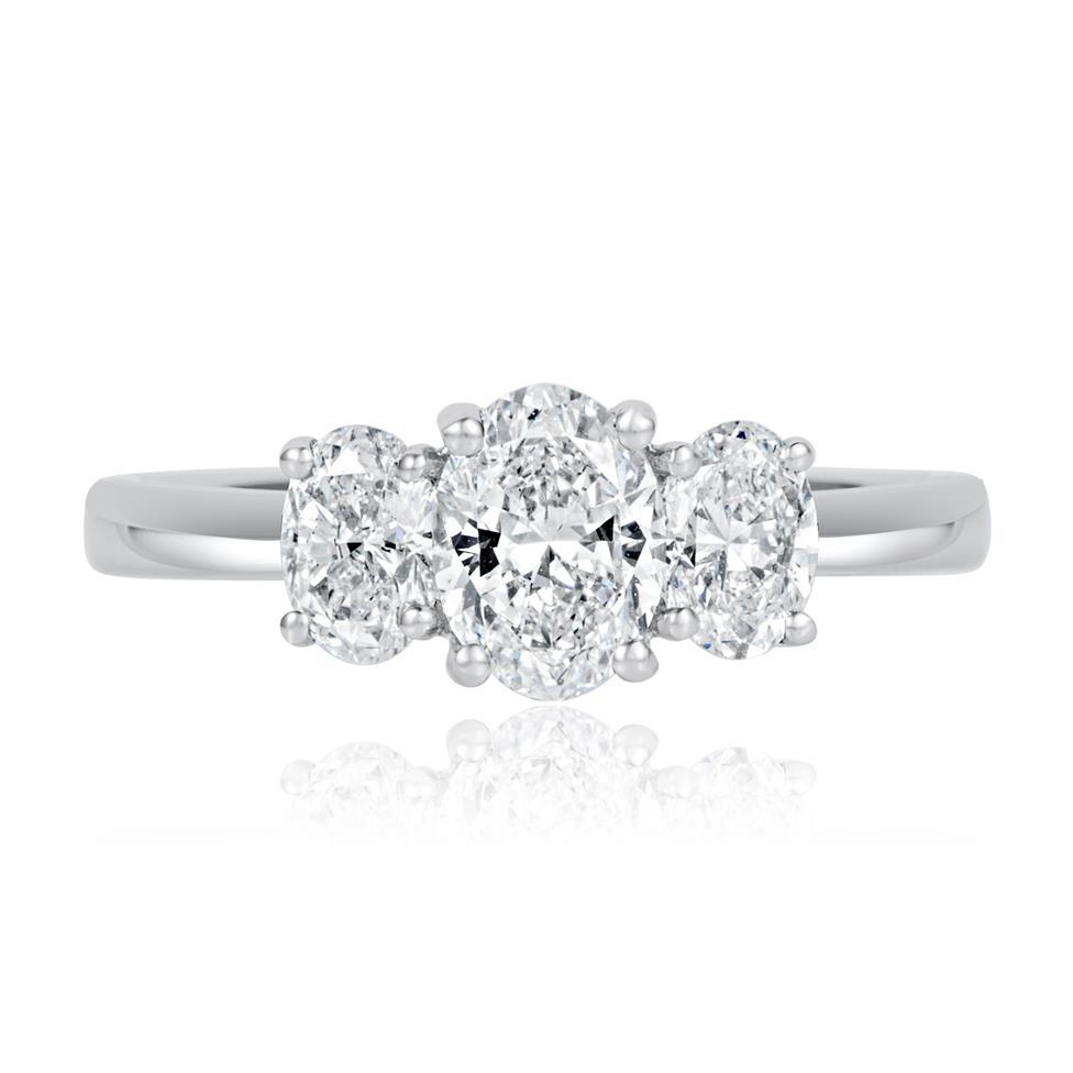 Platinum Oval Diamond Three Stone Engagement Ring 1.30ct Thumbnail Image 3