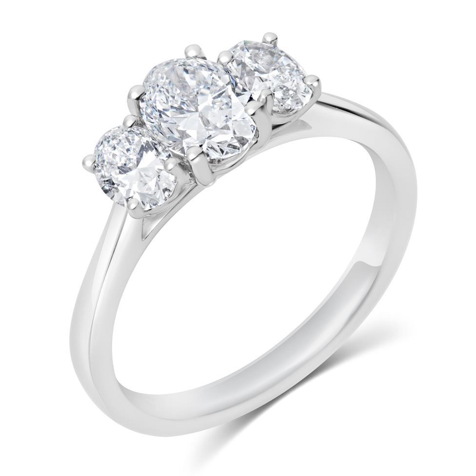 Platinum Oval Diamond Three Stone Engagement Ring 1.30ct Thumbnail Image 0
