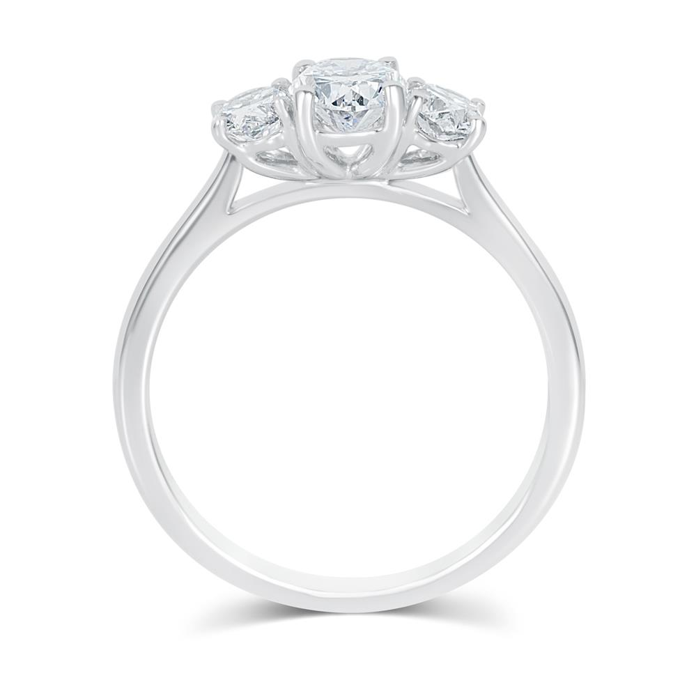 Platinum Oval Diamond Three Stone Engagement Ring 1.30ct Thumbnail Image 4