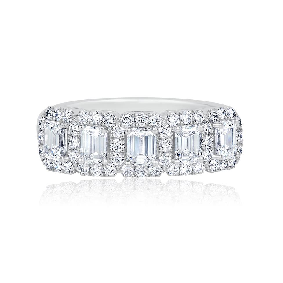 Odyssey 18ct White Gold Emerald Cut and Round Diamond Dress Ring 1.40ct Thumbnail Image 2