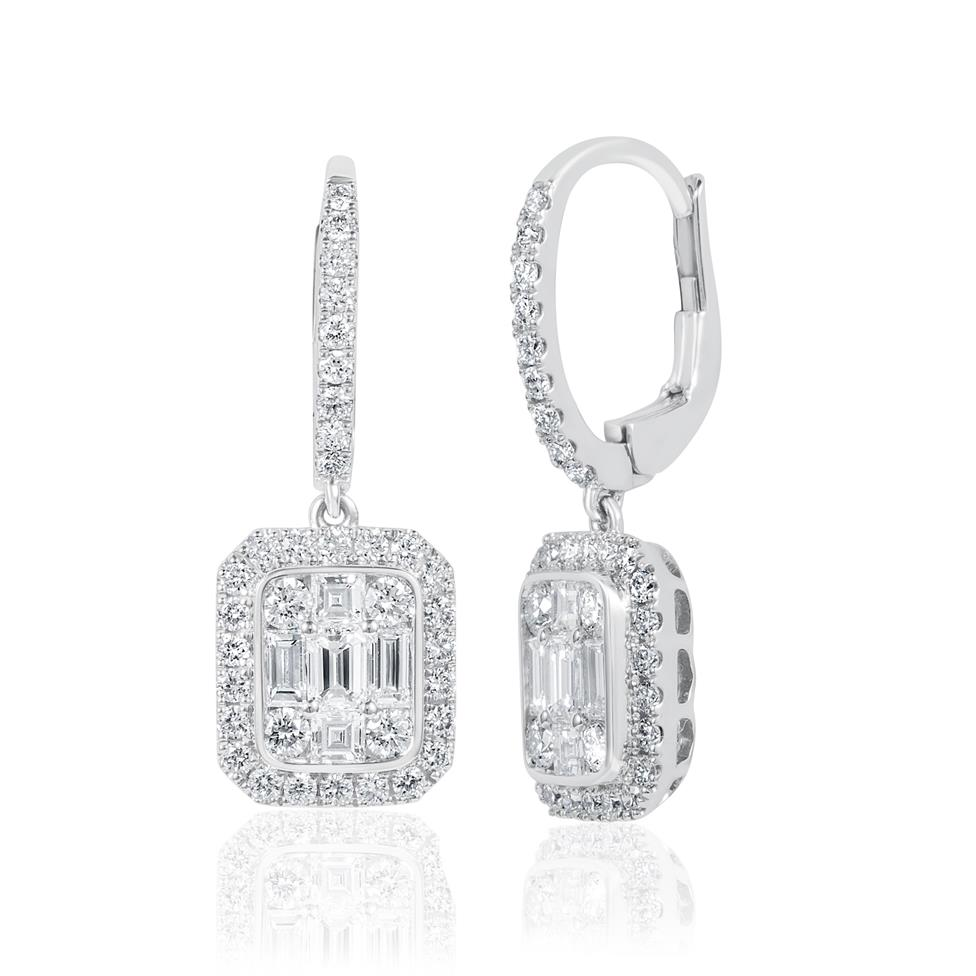 Odyssey 18ct White Gold Diamond Cluster Drop Earrings 1.60ct Thumbnail Image 0