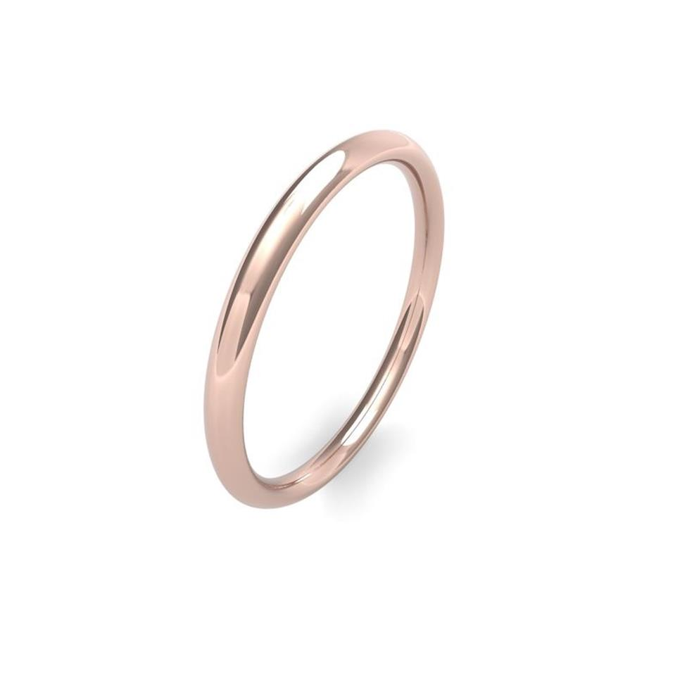 18ct Rose Gold Heavy Traditional Court Wedding Ring Image 1