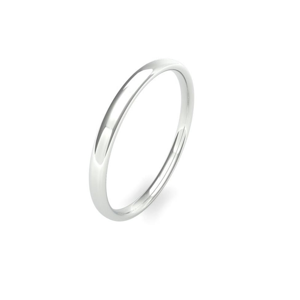 Platinum Light Gauge Slight Court Wedding Ring Thumbnail Image 0