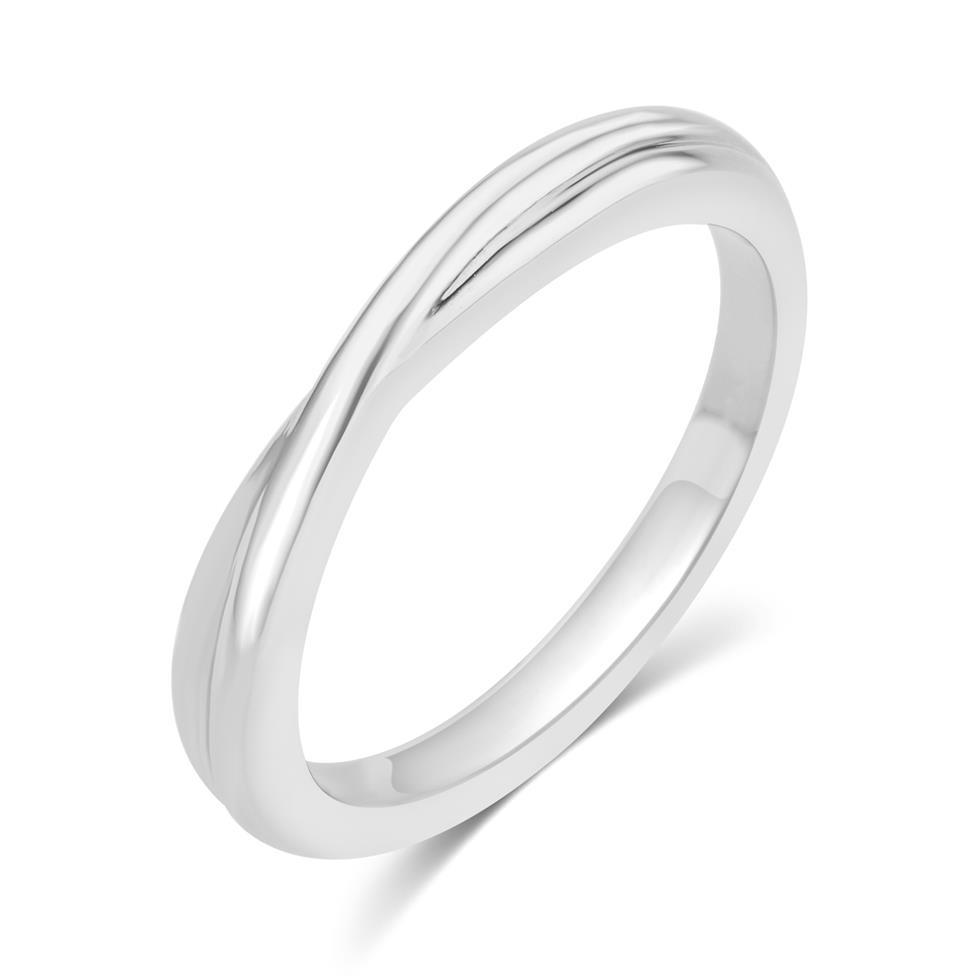 Platinum Twist Design Wedding Ring Thumbnail Image 0