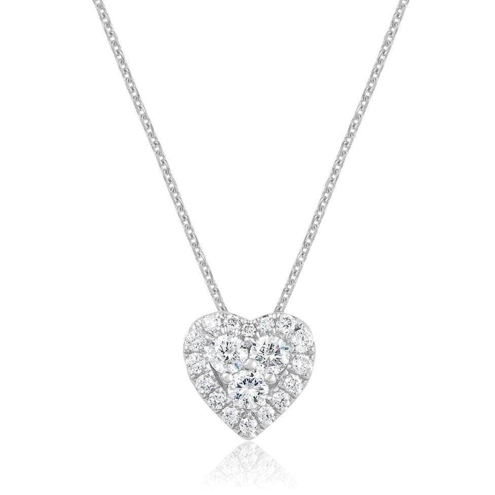 Adore 18ct White Gold Heart Design Diamond Pendant  Thumbnail Image 0