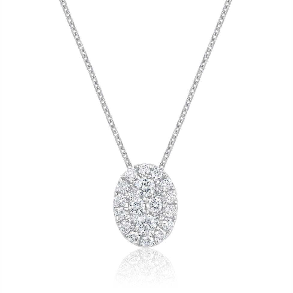 Adore 18ct White Gold Oval Design Diamond Pendant  Thumbnail Image 0
