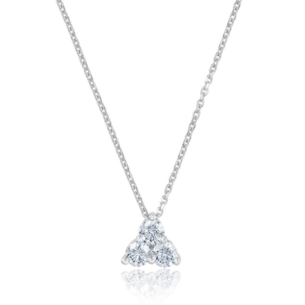 18ct White Gold Diamond Trefoil Design Necklace - Small 0.26ct Thumbnail Image 0