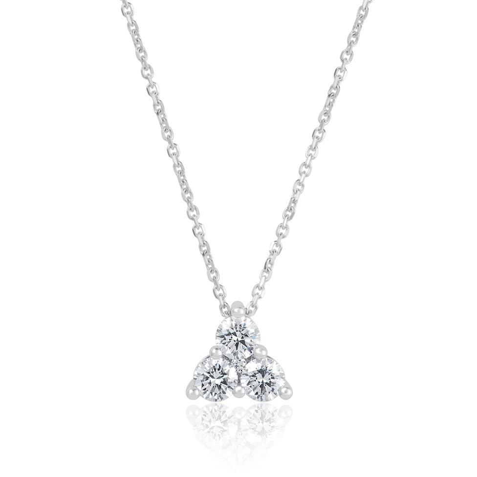 18ct White Gold Diamond Trefoil Design Necklace - Large 0.37ct Thumbnail Image 0