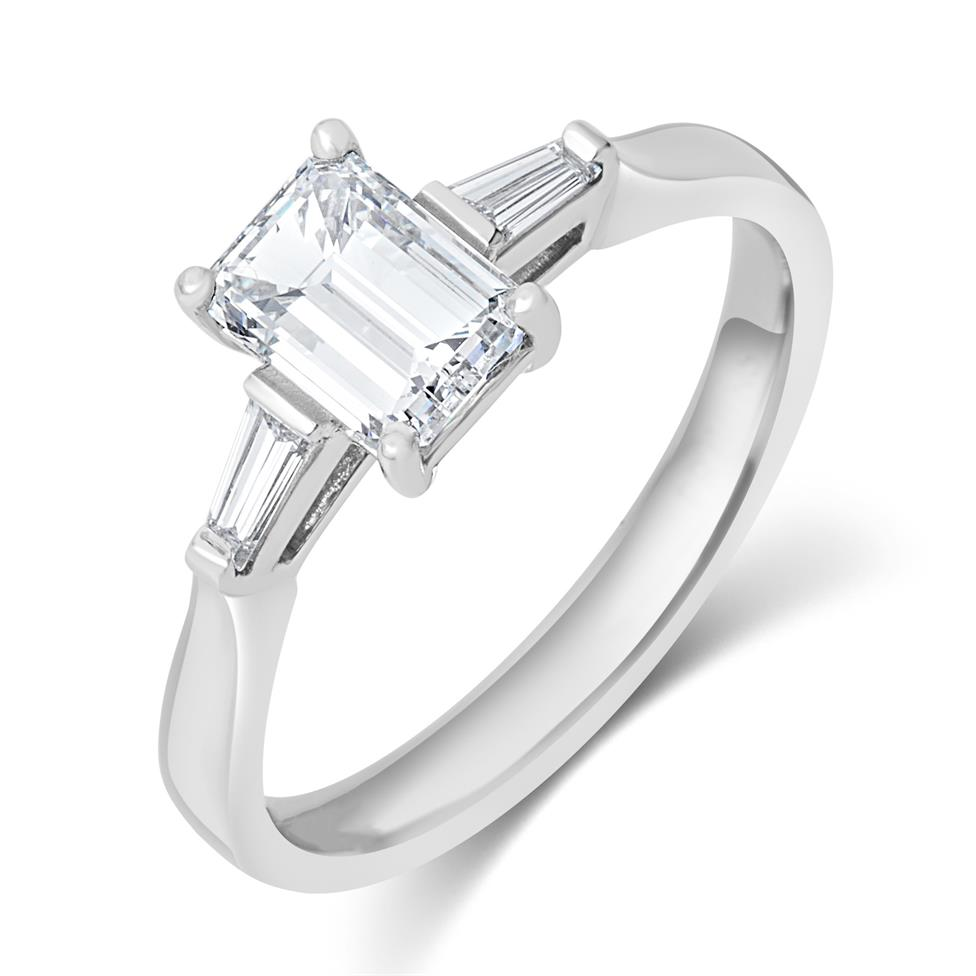 Platinum Emerald Cut and Baguette Cut Diamond Three Stone Engagement Ring 1.22ct Thumbnail Image 0