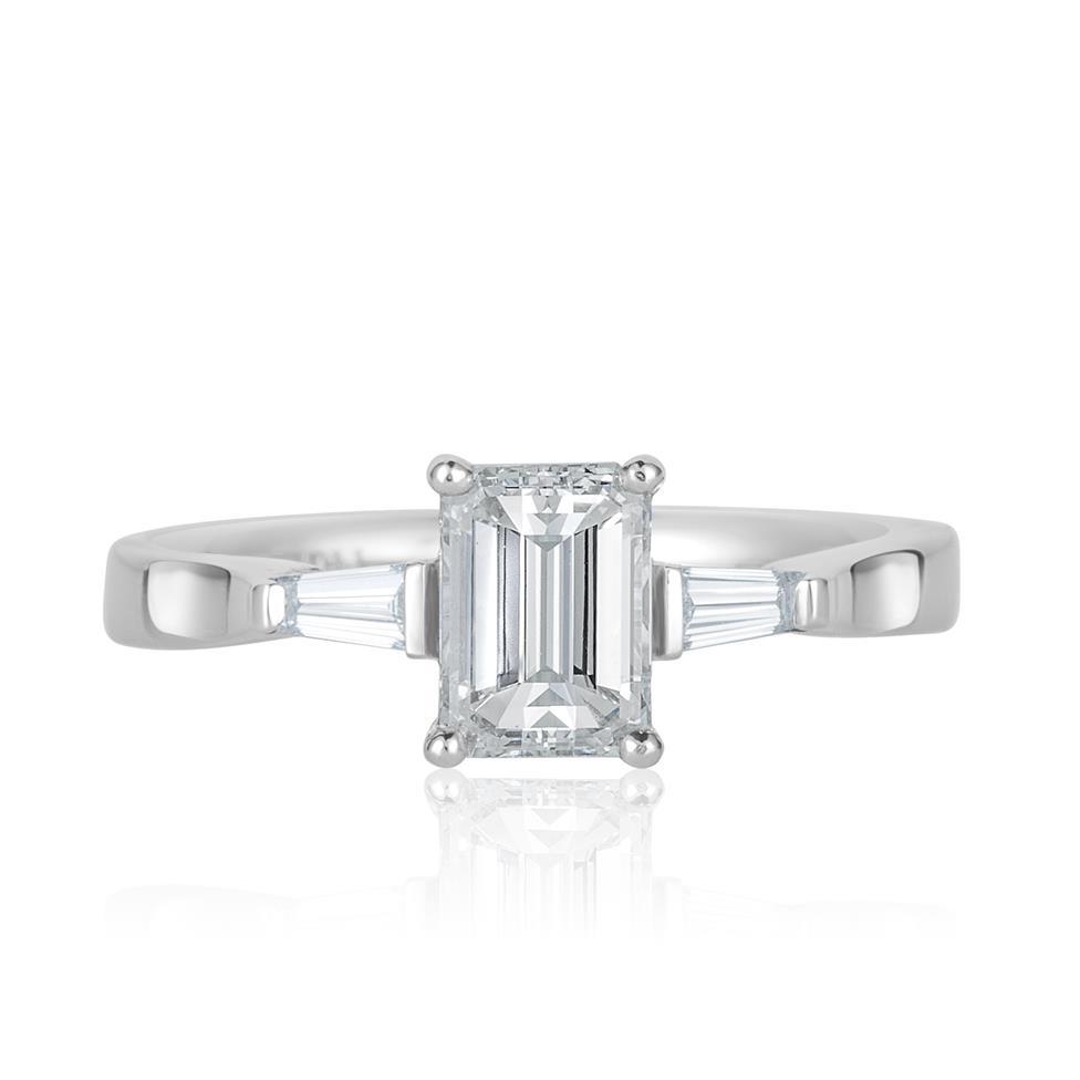 Platinum Emerald Cut and Baguette Cut Diamond Three Stone Engagement Ring 1.22ct Thumbnail Image 1