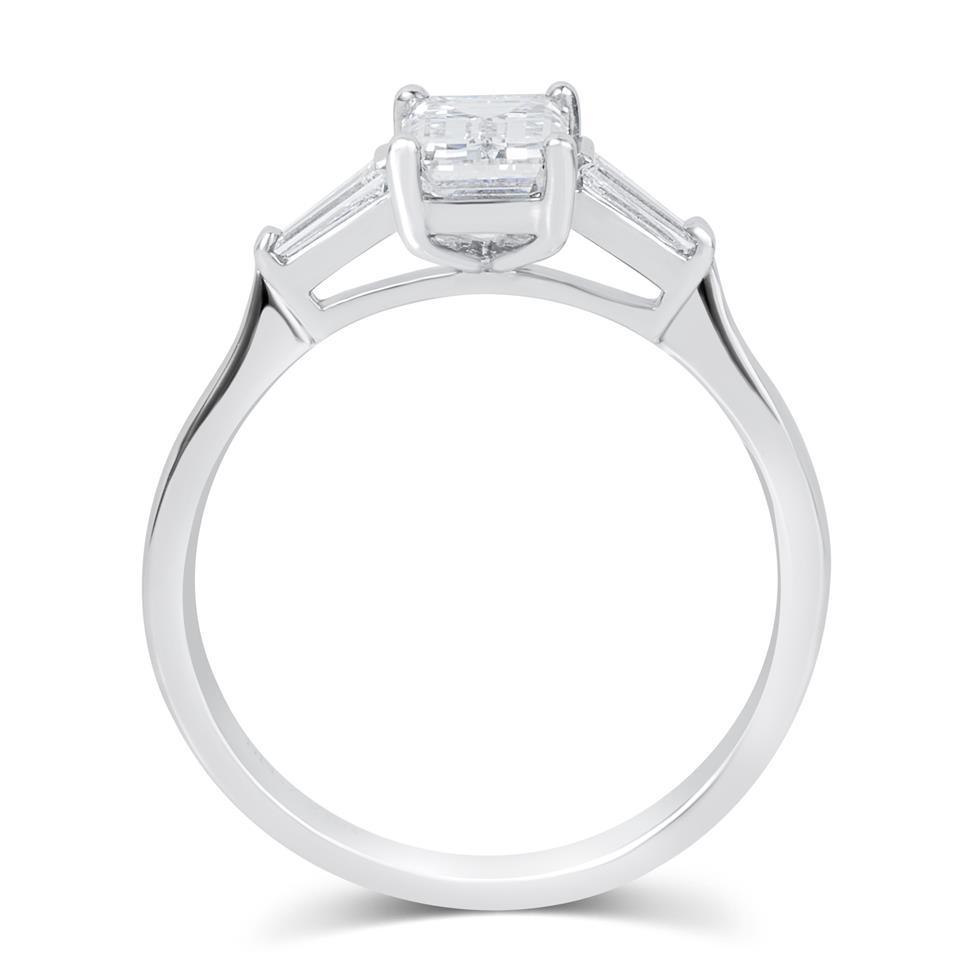 Platinum Emerald Cut and Baguette Cut Diamond Three Stone Engagement Ring 1.22ct Thumbnail Image 2