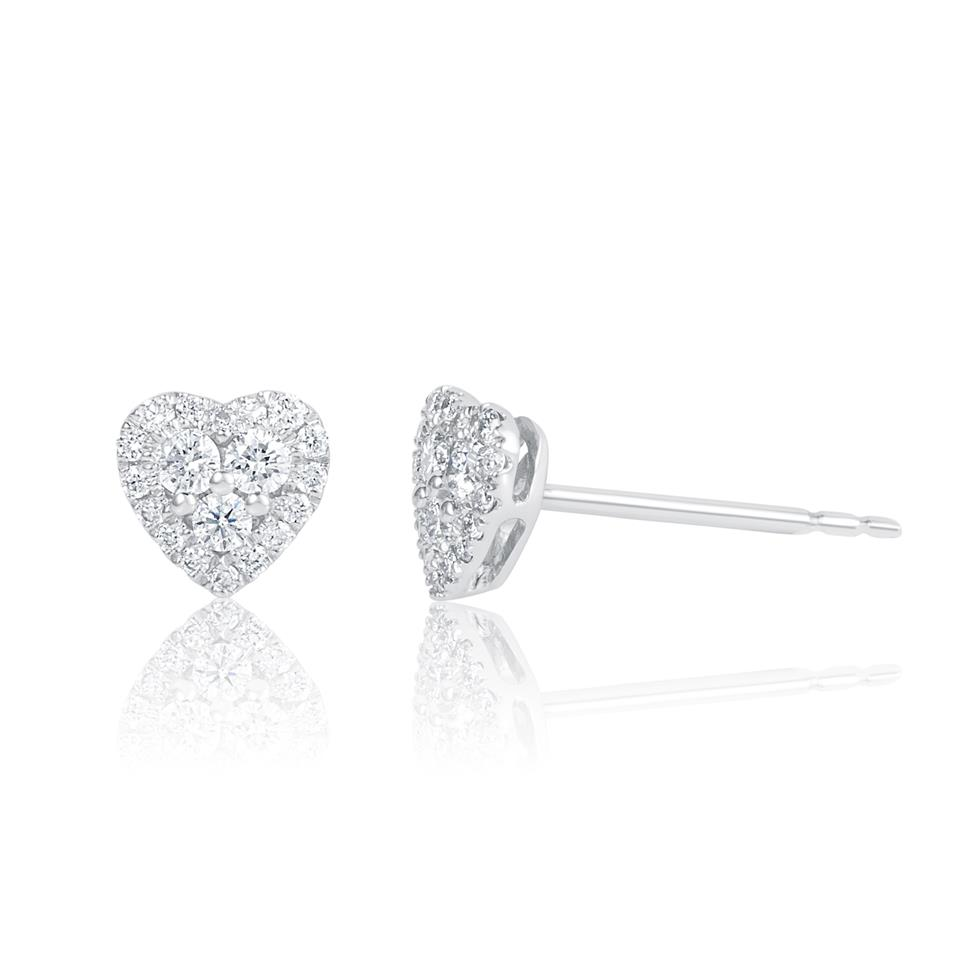 Adore 18ct White Gold Heart Design Diamond Stud Earrings 0.29ct Thumbnail Image 0