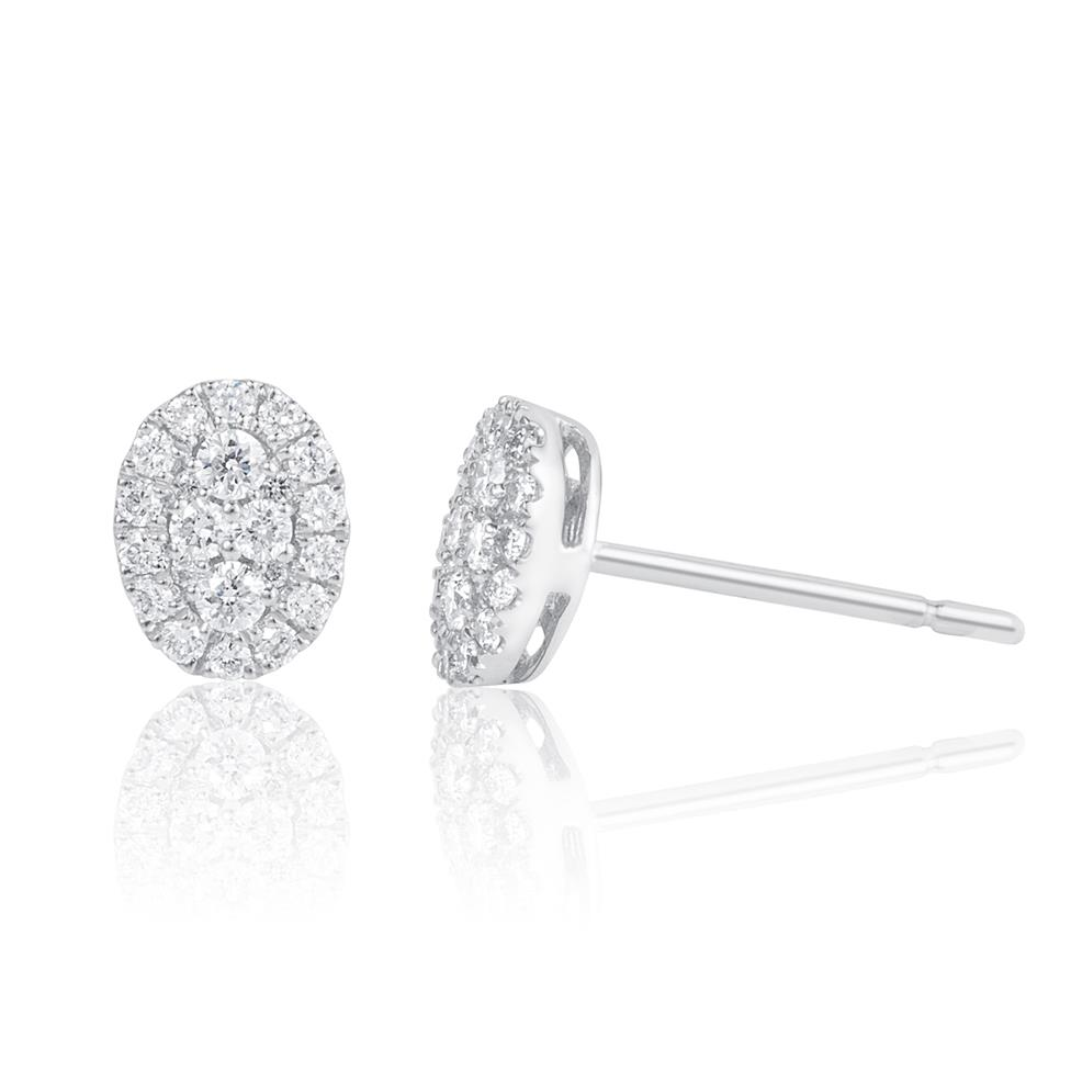Adore 18ct White Gold Oval Design Diamond Stud Earrings 0.29ct Thumbnail Image 0