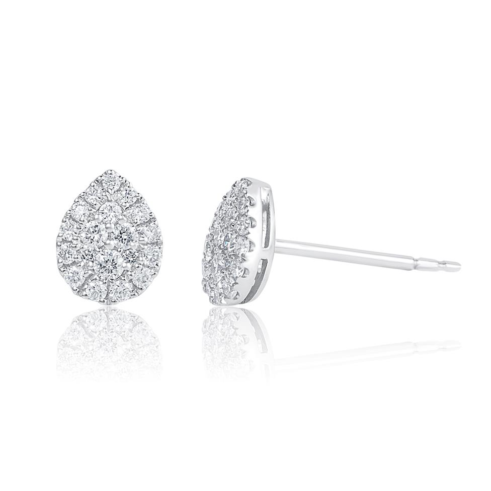 Adore 18ct White Gold Pear Design Diamond Stud Earrings 0.29ct Thumbnail Image 0