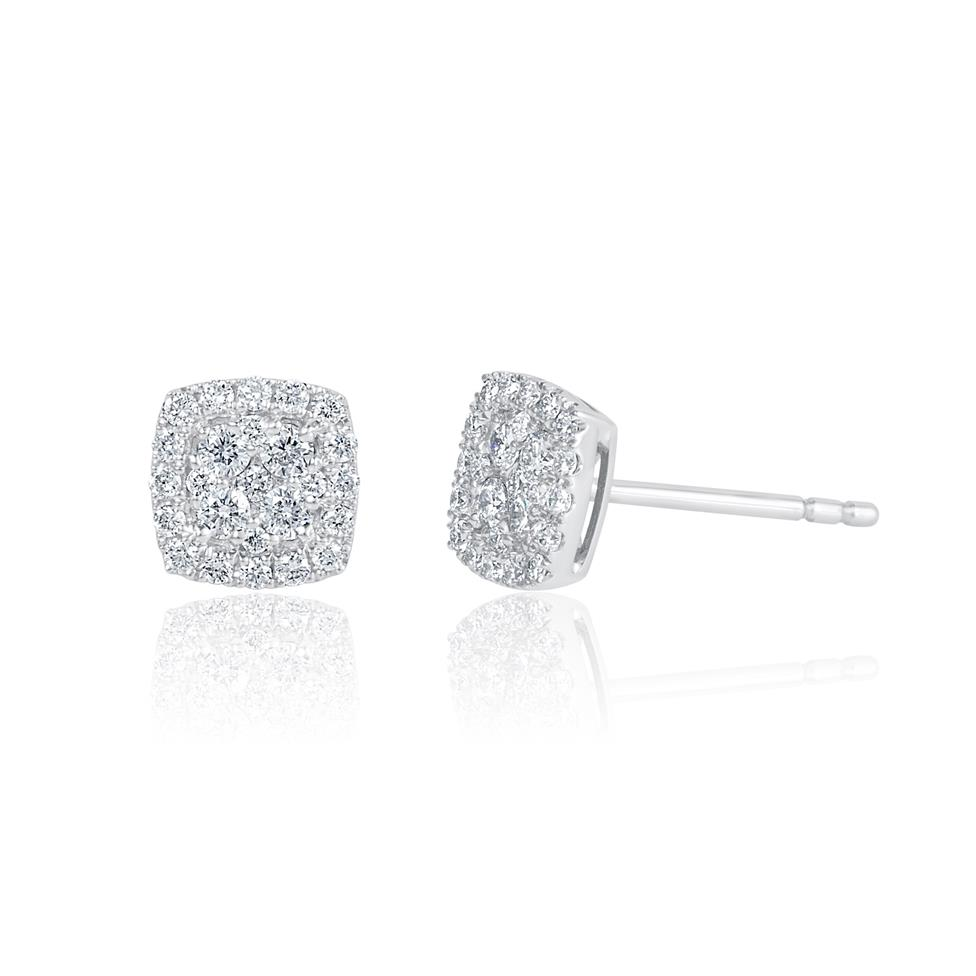 Adore 18ct White Gold Cushion Design Diamond Stud Earrings 0.29ct Thumbnail Image 0