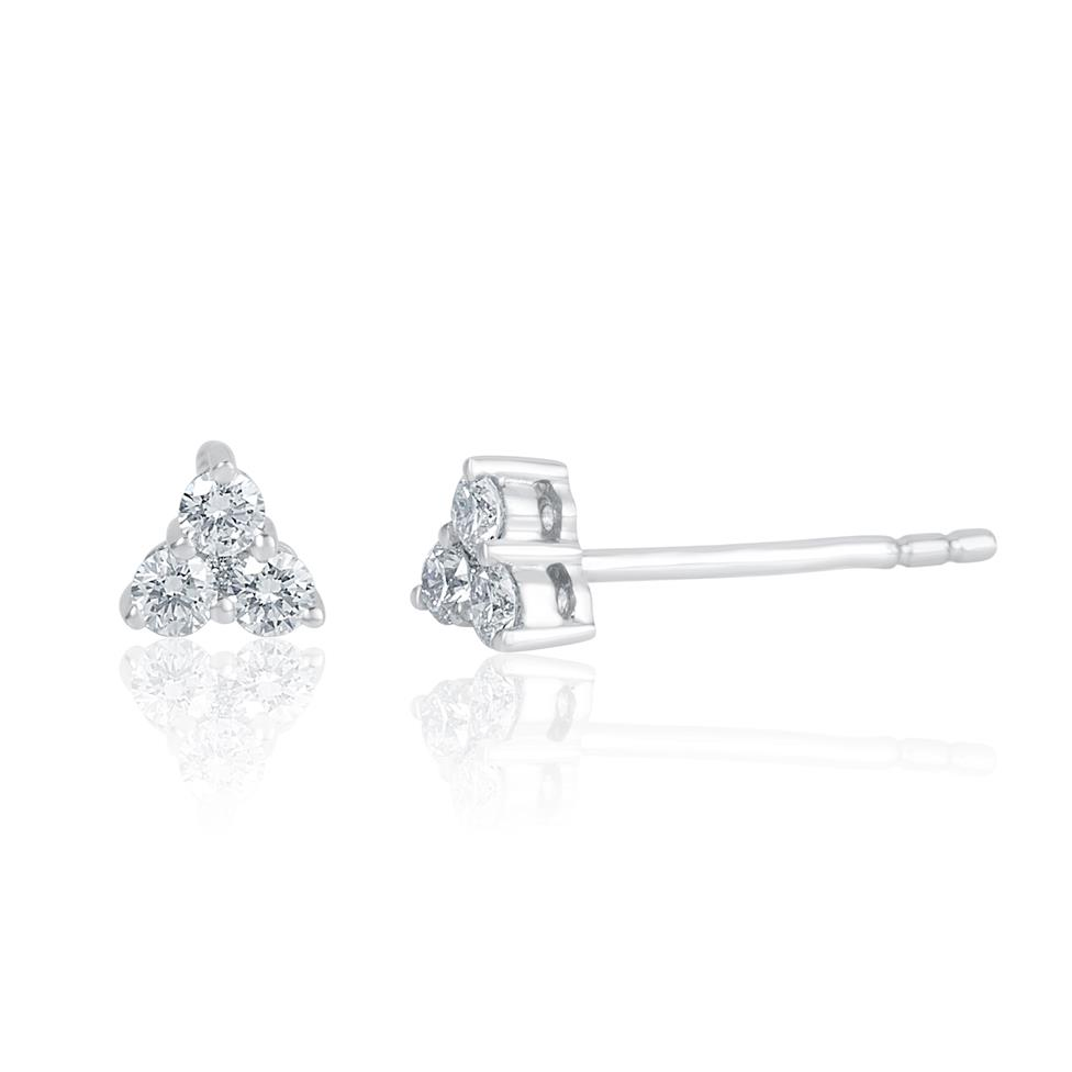18ct White Gold Trefoil Design Diamond Stud Earrings 4.3mm Thumbnail Image 0