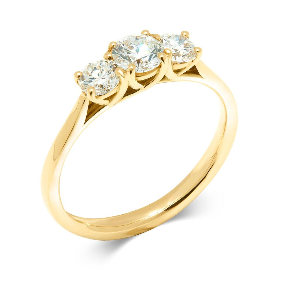 18ct Yellow Gold 0.80ct Diamond Three Stone Ring Thumbnail Image 0