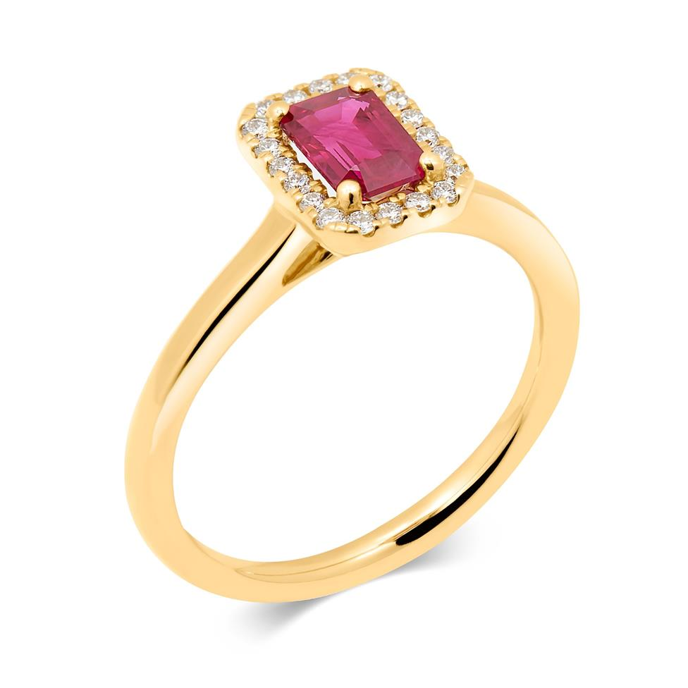18ct Yellow Gold Octagon Cut Ruby and Diamond Halo Dress Ring Thumbnail Image 0