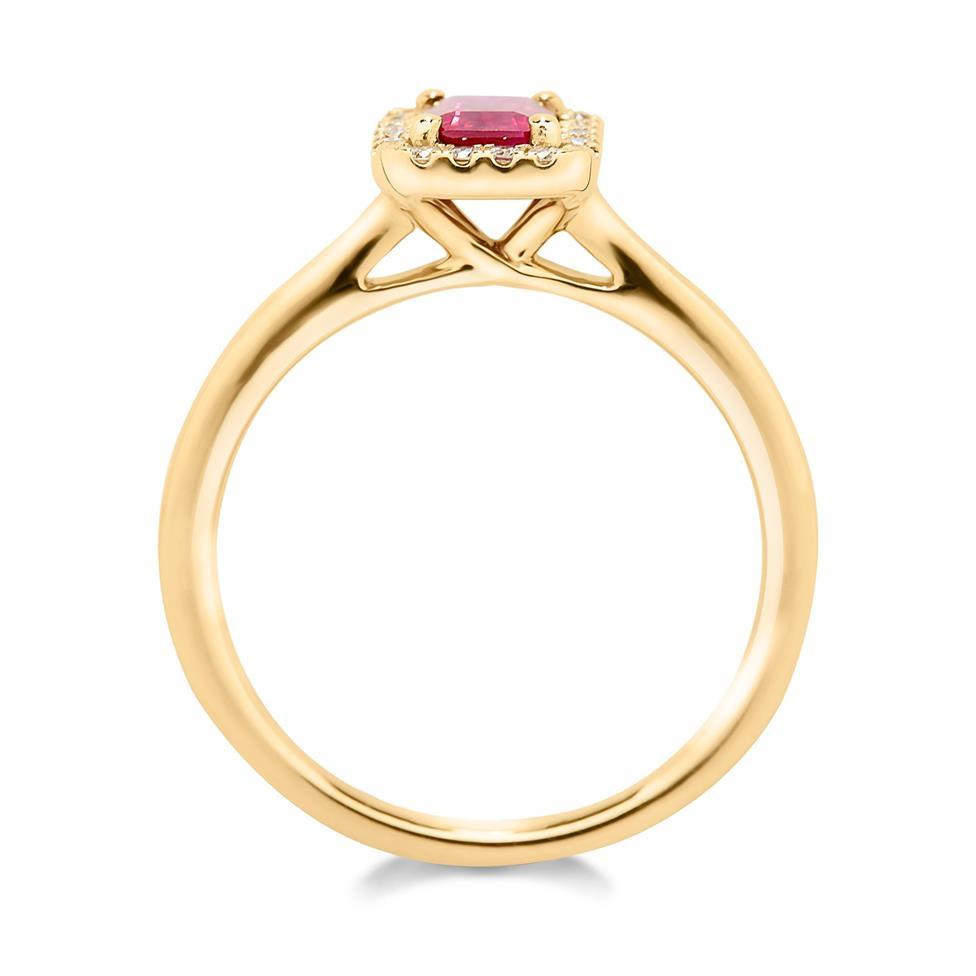 18ct Yellow Gold Octagon Cut Ruby and Diamond Halo Dress Ring Thumbnail Image 1