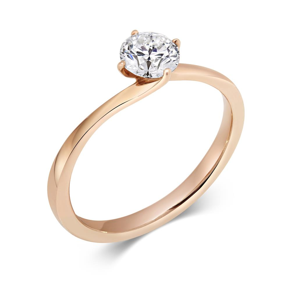 18ct Rose Gold Twist Round 0.50ct Diamond Solitaire Ring Thumbnail Image 0