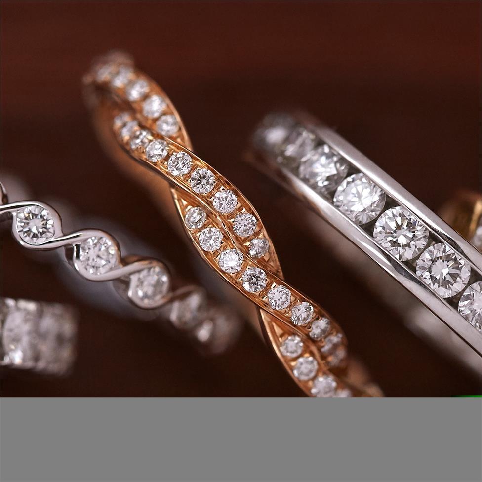 18ct Rose Gold Plaited Design Diamond Dress Ring Thumbnail Image 2