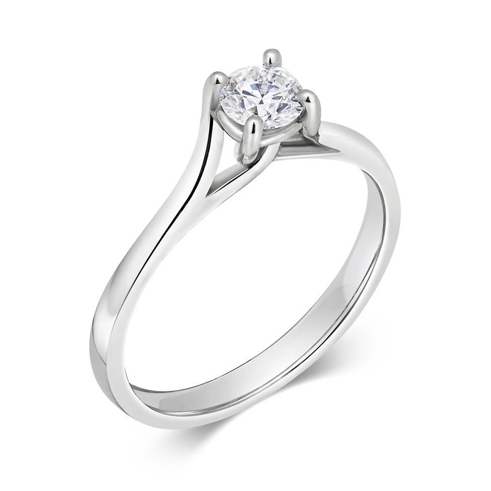 Platinum Twisted Claw Design Diamond Solitaire Engagement Ring 0.35ct Thumbnail Image 0