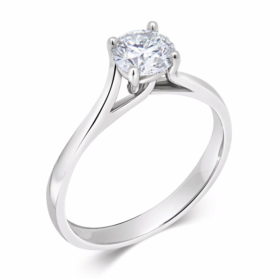 Platinum Twisted Claw Design Diamond Solitaire Engagement Ring 0.70ct Image 1