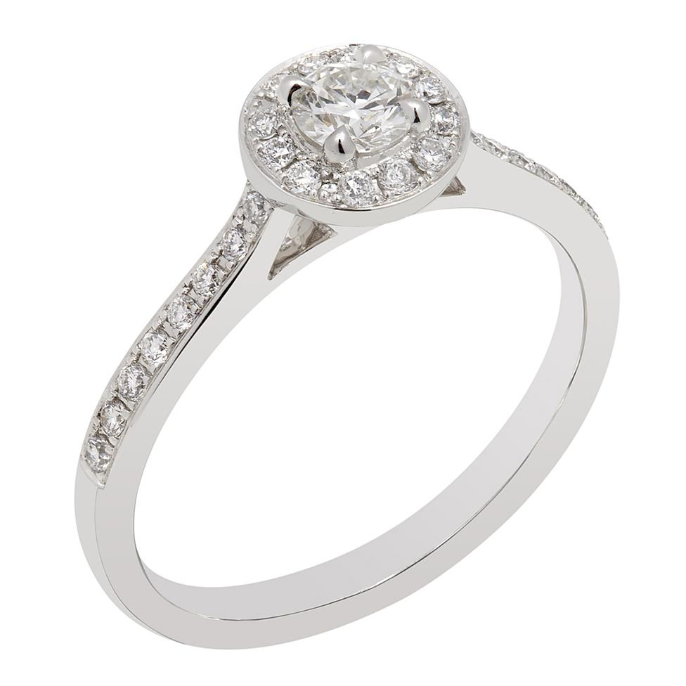 Camellia Platinum Vintage Inspired Diamond Ring Thumbnail Image 0