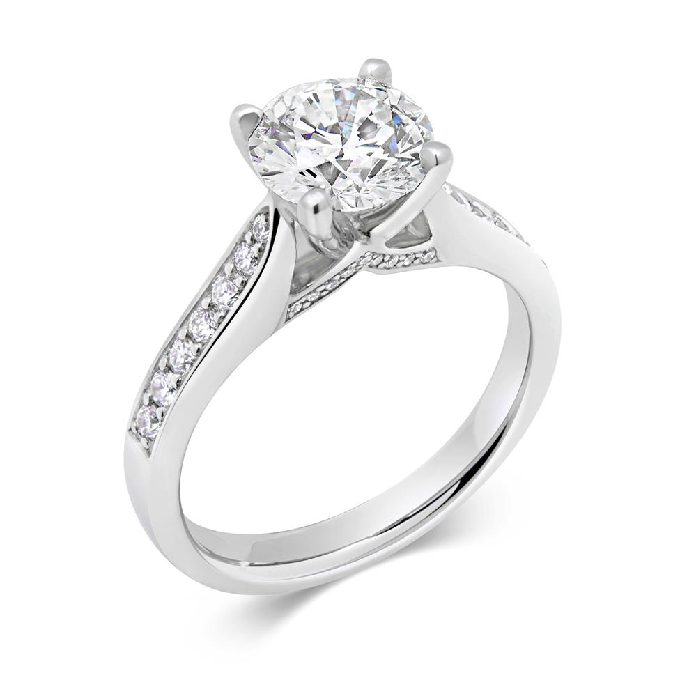 Platinum Bridge Detail Diamond Solitaire Engagement Ring 1.78ct Thumbnail Image 0
