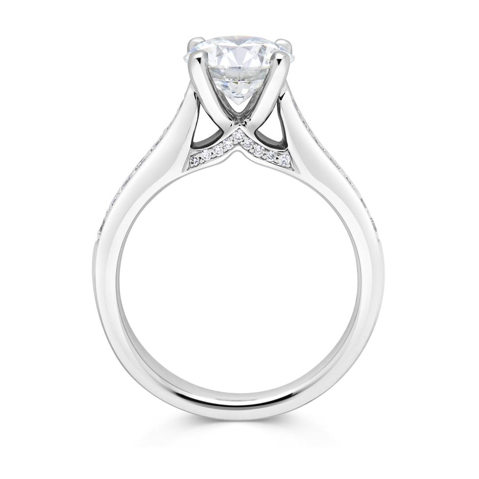 Platinum Bridge Detail Diamond Solitaire Engagement Ring 1.78ct Thumbnail Image 1