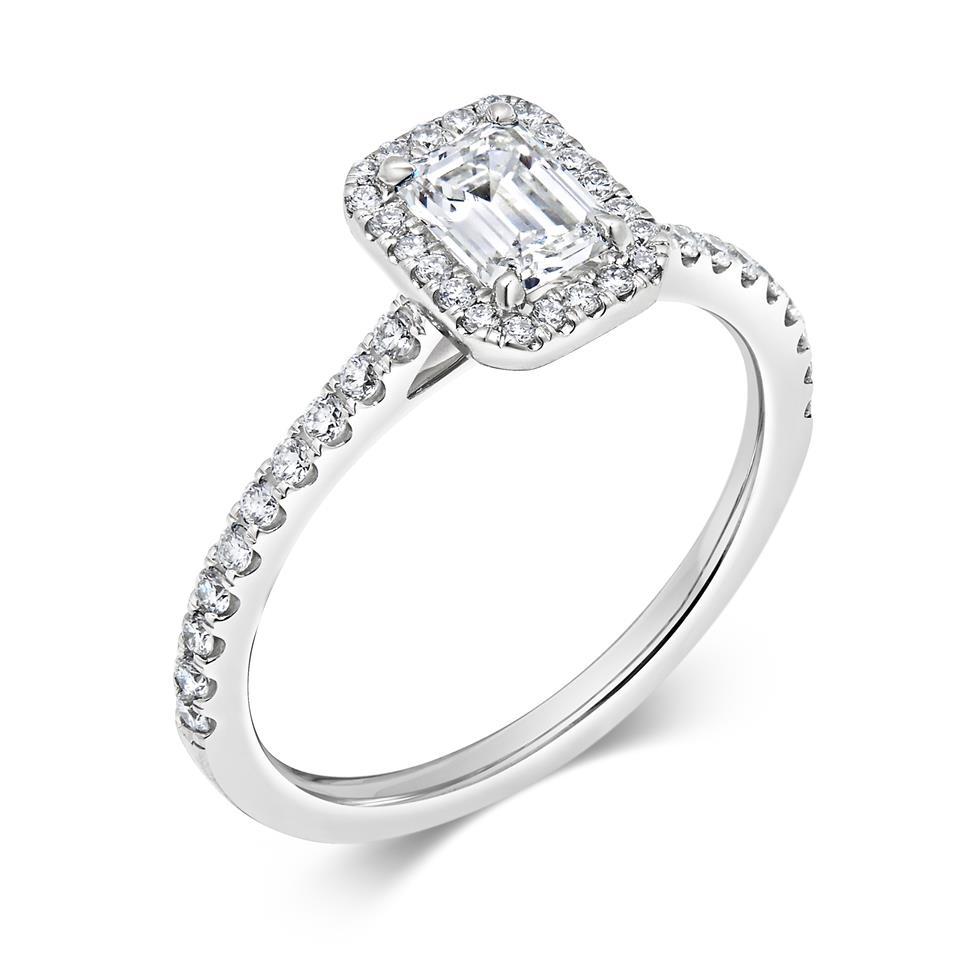 Platinum Emerald Cut Diamond Halo Engagement Ring 0.80ct Thumbnail Image 0