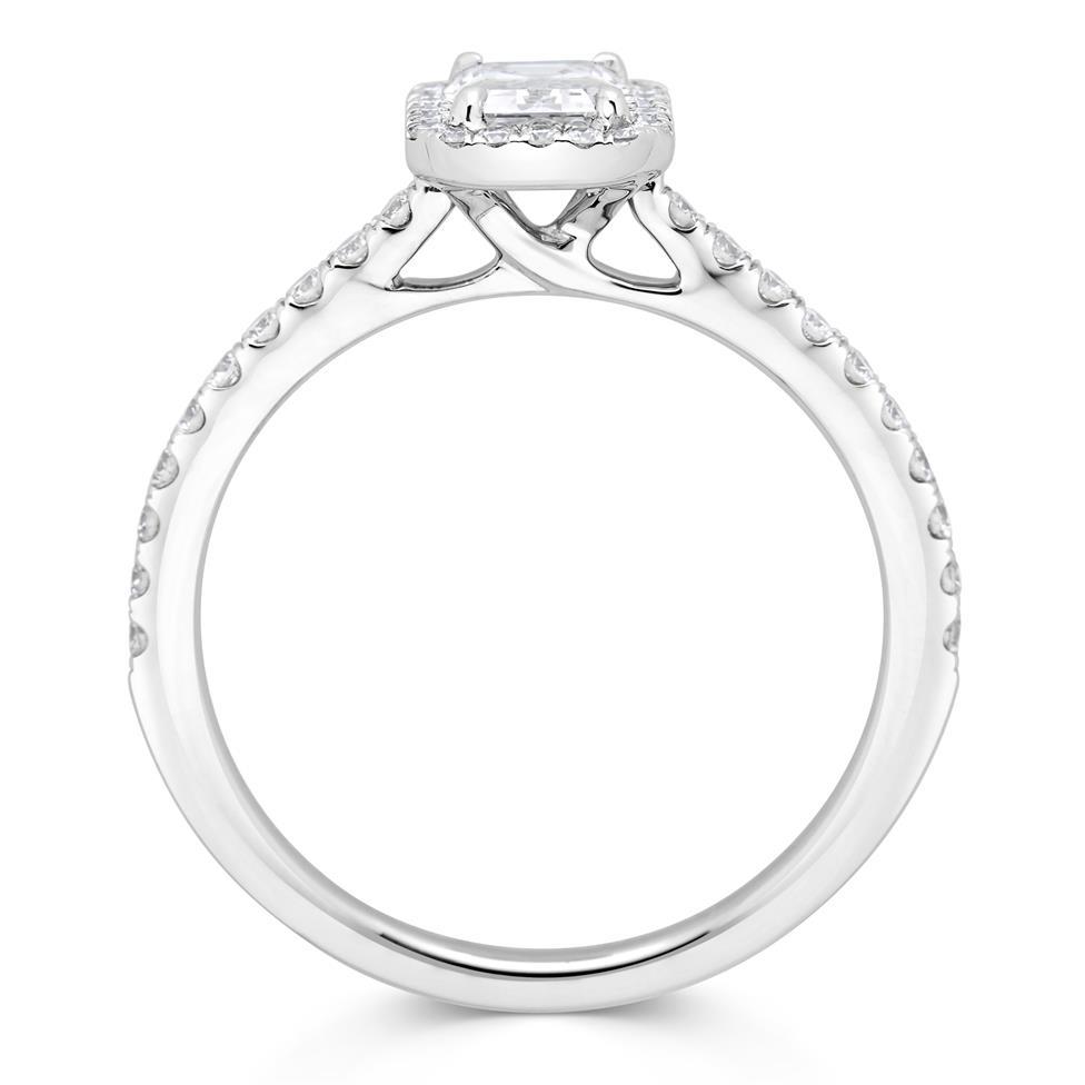 Platinum Emerald Cut Diamond Halo Engagement Ring 0.80ct Thumbnail Image 2