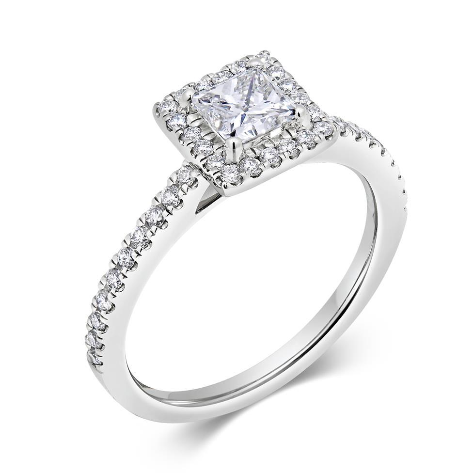 Platinum Princess Cut Diamond Halo Engagement Ring 0.75ct Thumbnail Image 0