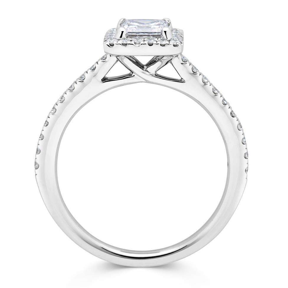 Platinum Princess Cut Diamond Halo Engagement Ring 0.75ct Thumbnail Image 2