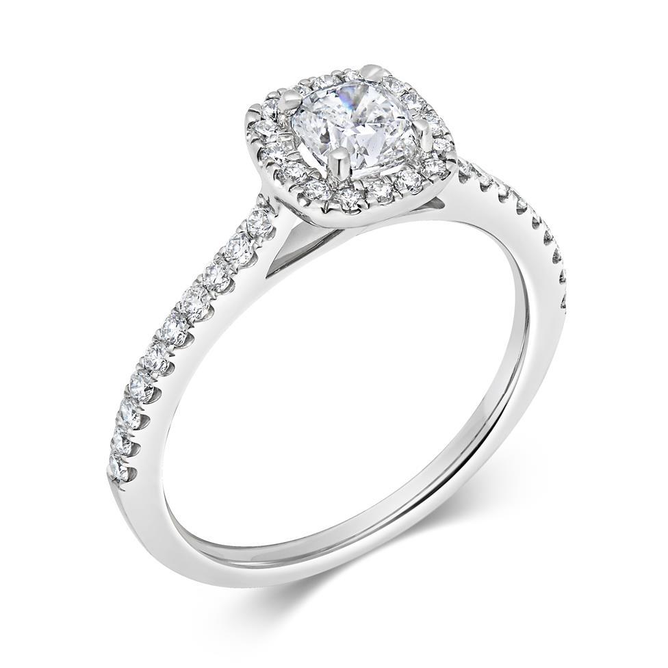 Platinum Cushion Cut Diamond Halo Engagement Ring 0.85ct Thumbnail Image 0