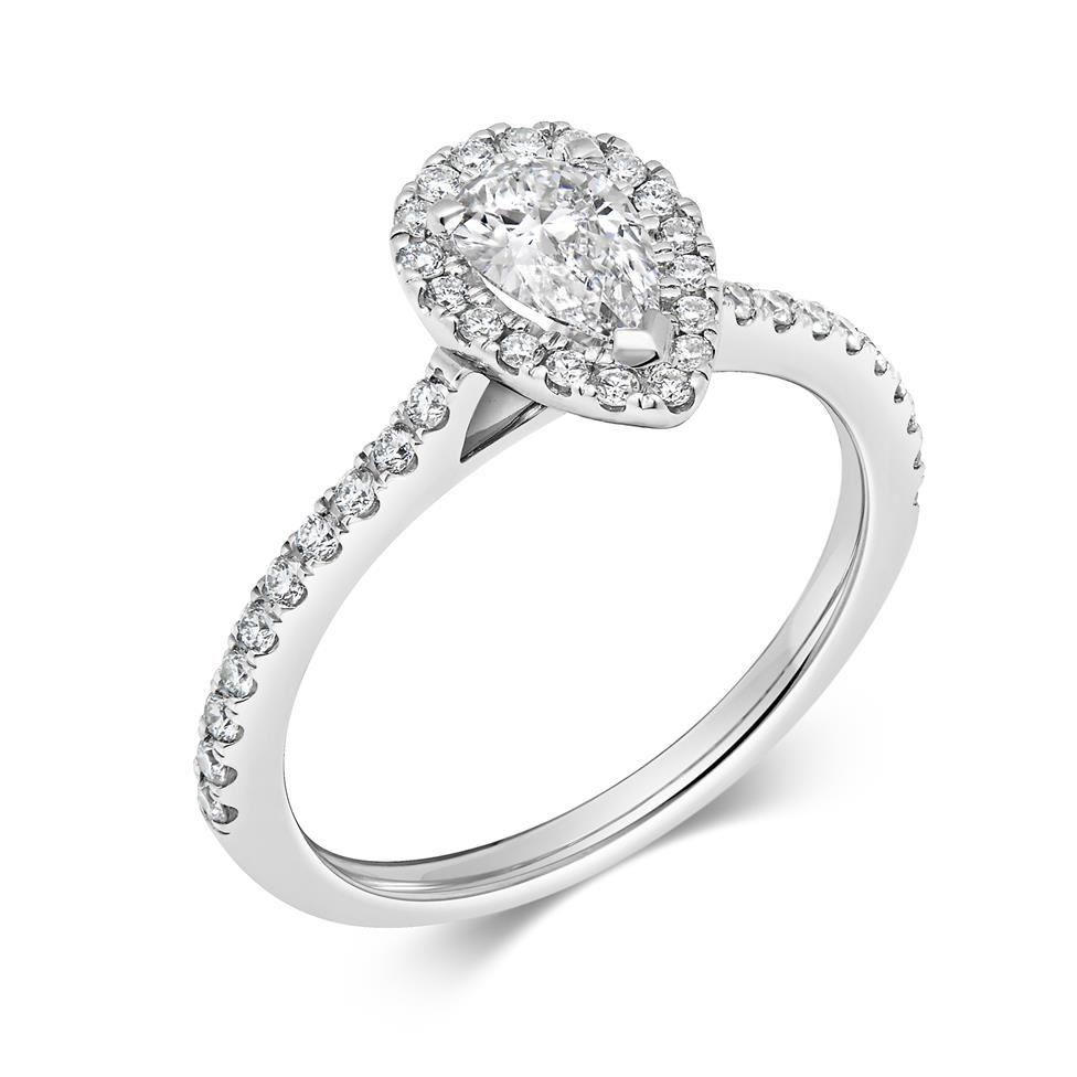 Platinum Pear Shape Diamond Halo Engagement Ring 0.85ct Thumbnail Image 0