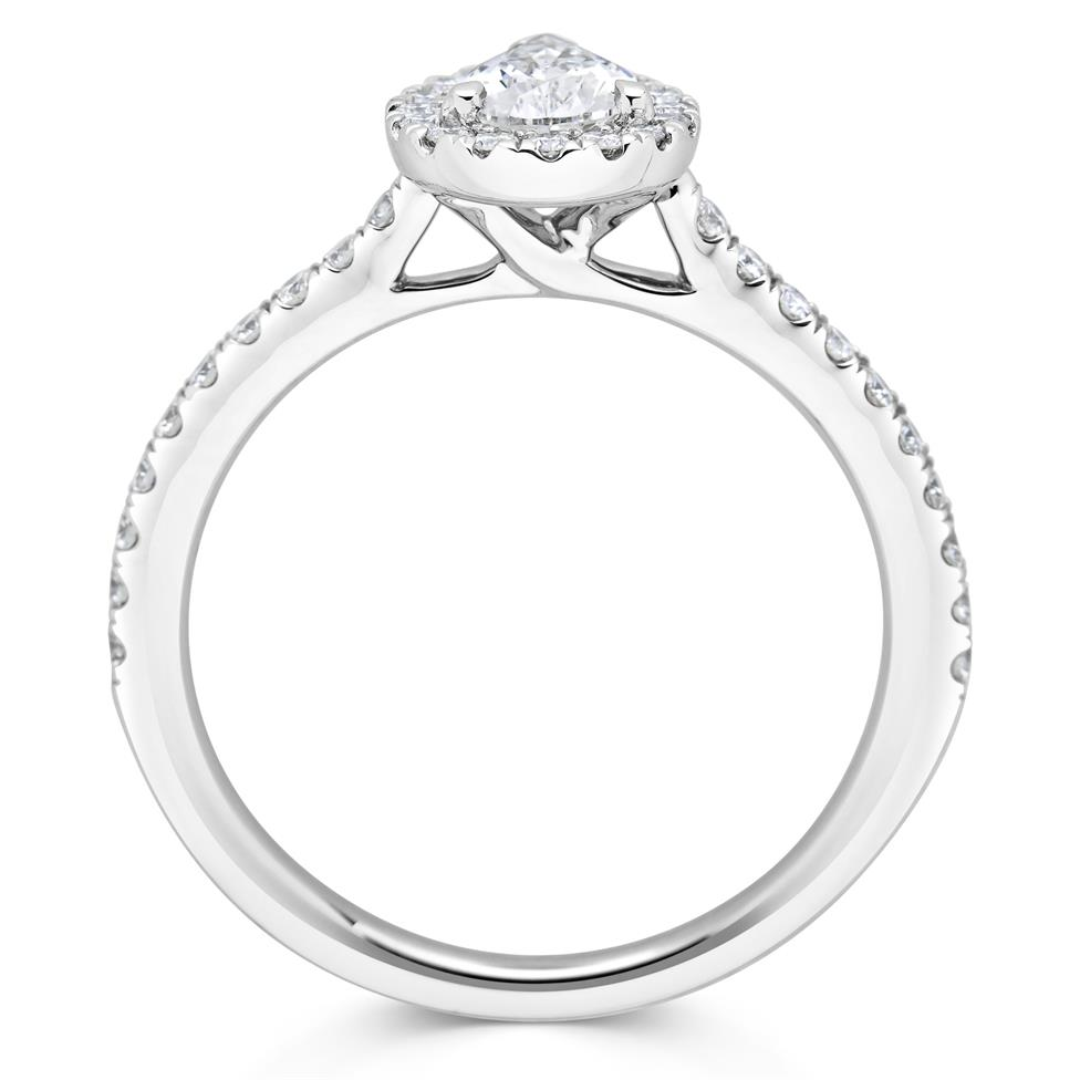 Platinum Pear Shape Diamond Halo Engagement Ring 0.85ct Thumbnail Image 2