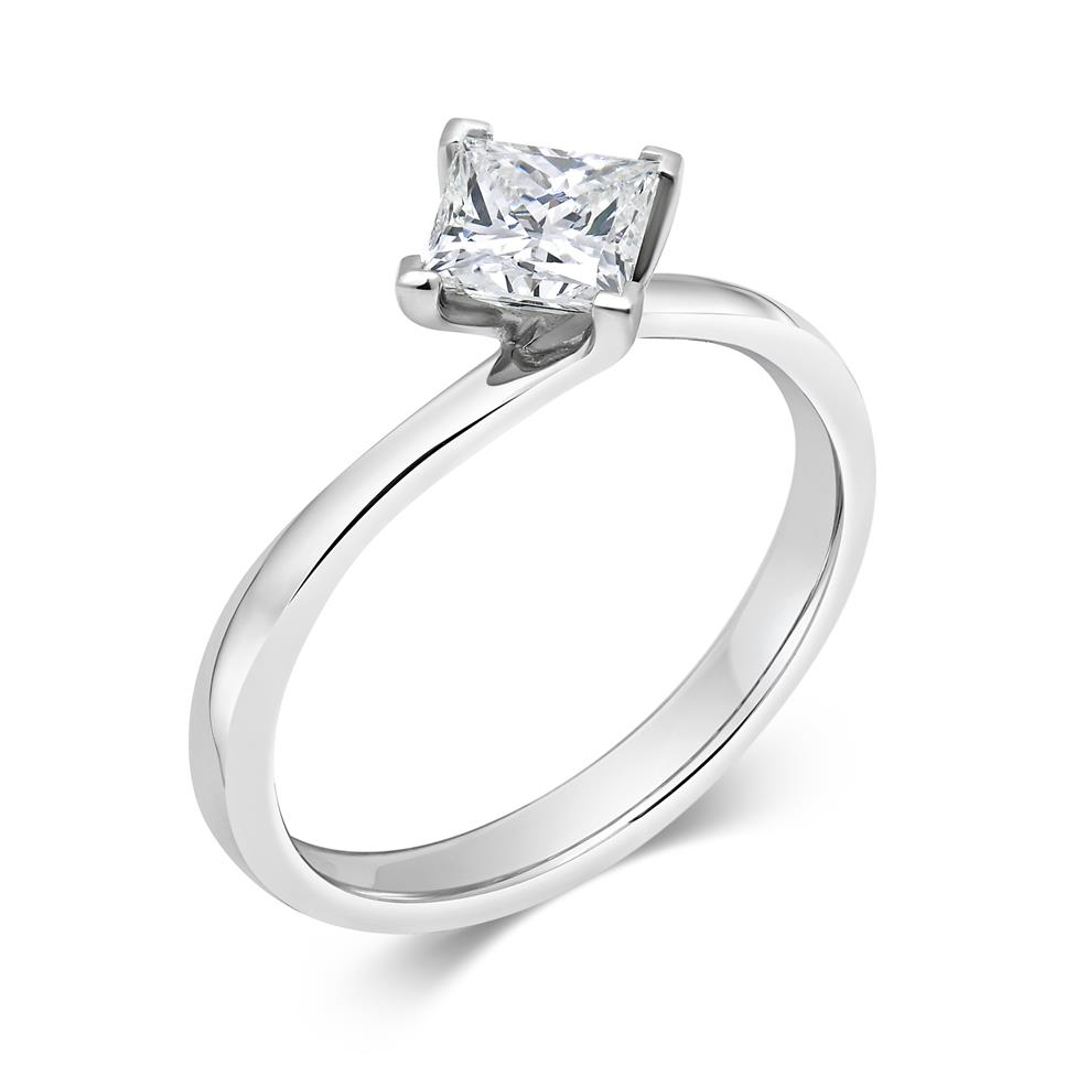 Platinum Twist Design Princess Cut Diamond Solitaire Engagement Ring 0.70ct Thumbnail Image 0