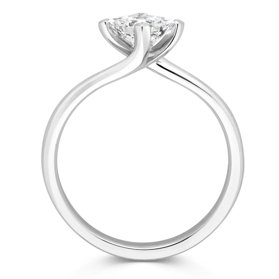 Platinum Twist Design Princess Cut Diamond Solitaire Engagement Ring 0.70ct Thumbnail Image 1