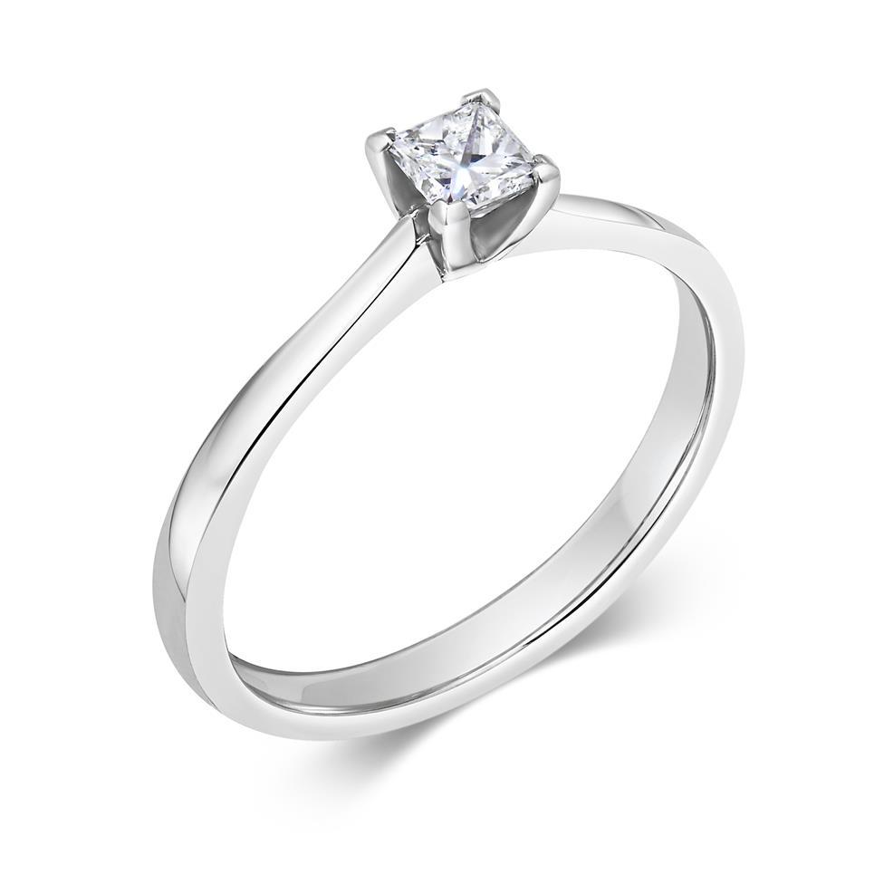 Platinum Princess Cut Diamond Solitaire Engagement Ring 0.23ct Thumbnail Image 0