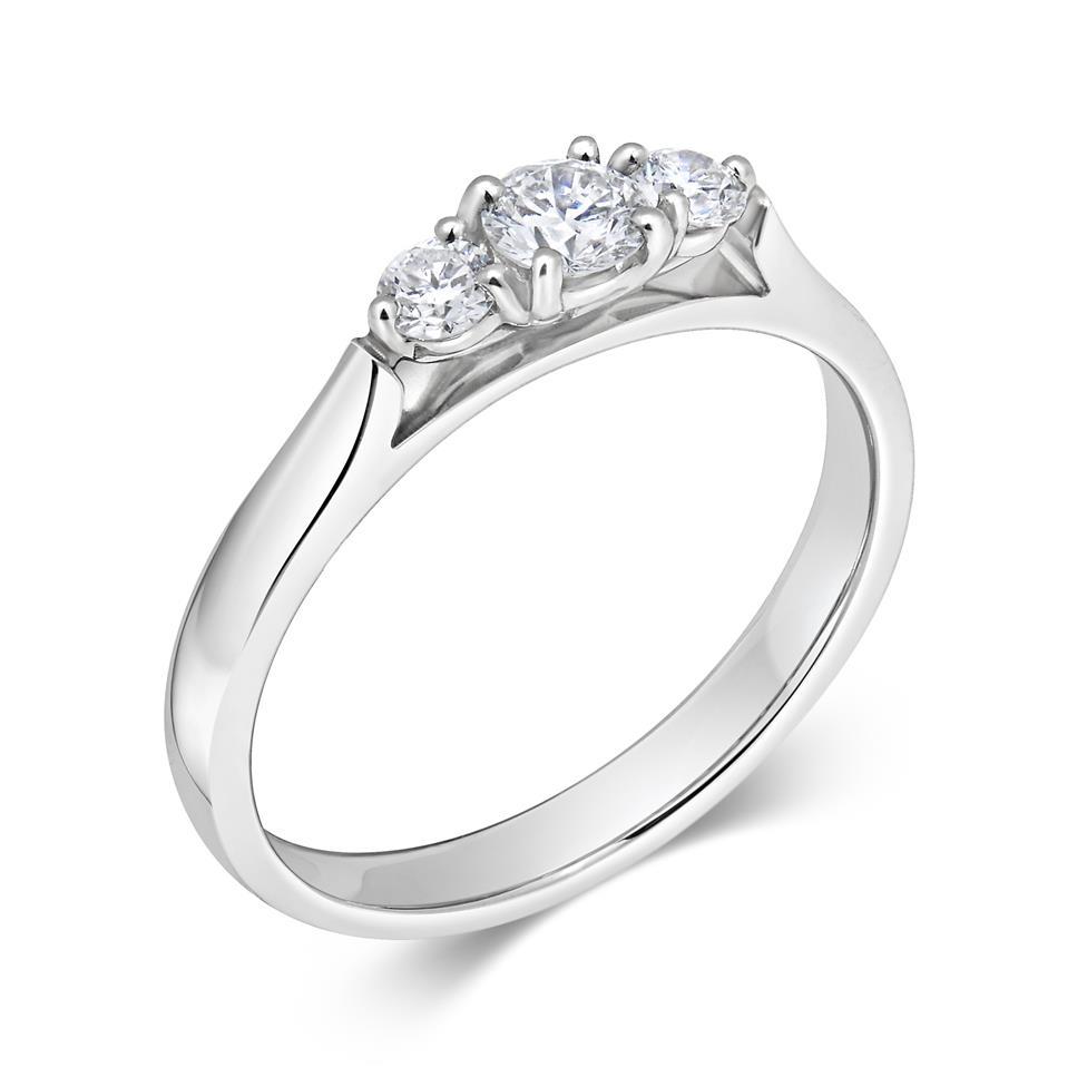 Platinum Diamond Three Stone Engagement Ring 0.33ct Thumbnail Image 0