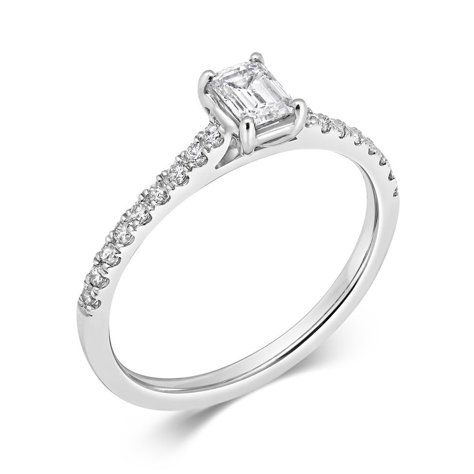 Platinum Emerald Cut Diamond Solitaire Engagement Ring 0.58ct Thumbnail Image 0