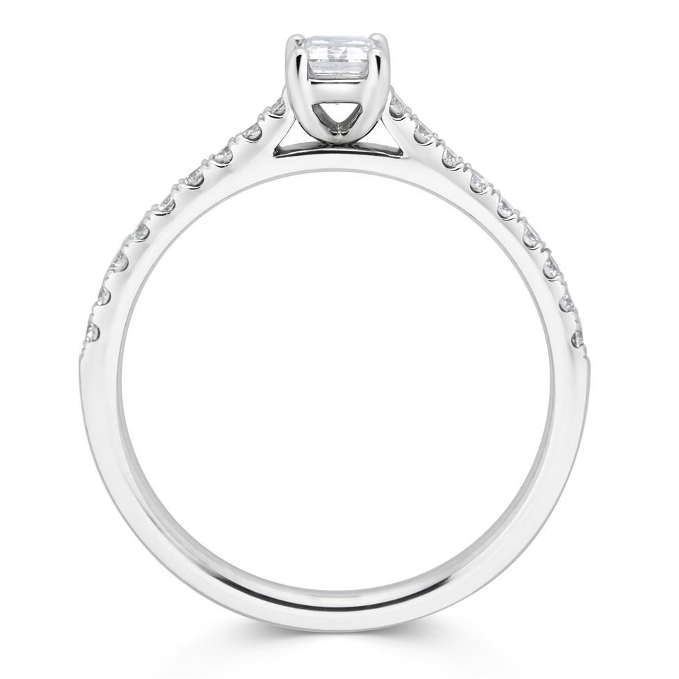 Platinum Emerald Cut Diamond Solitaire Engagement Ring 0.58ct Thumbnail Image 1