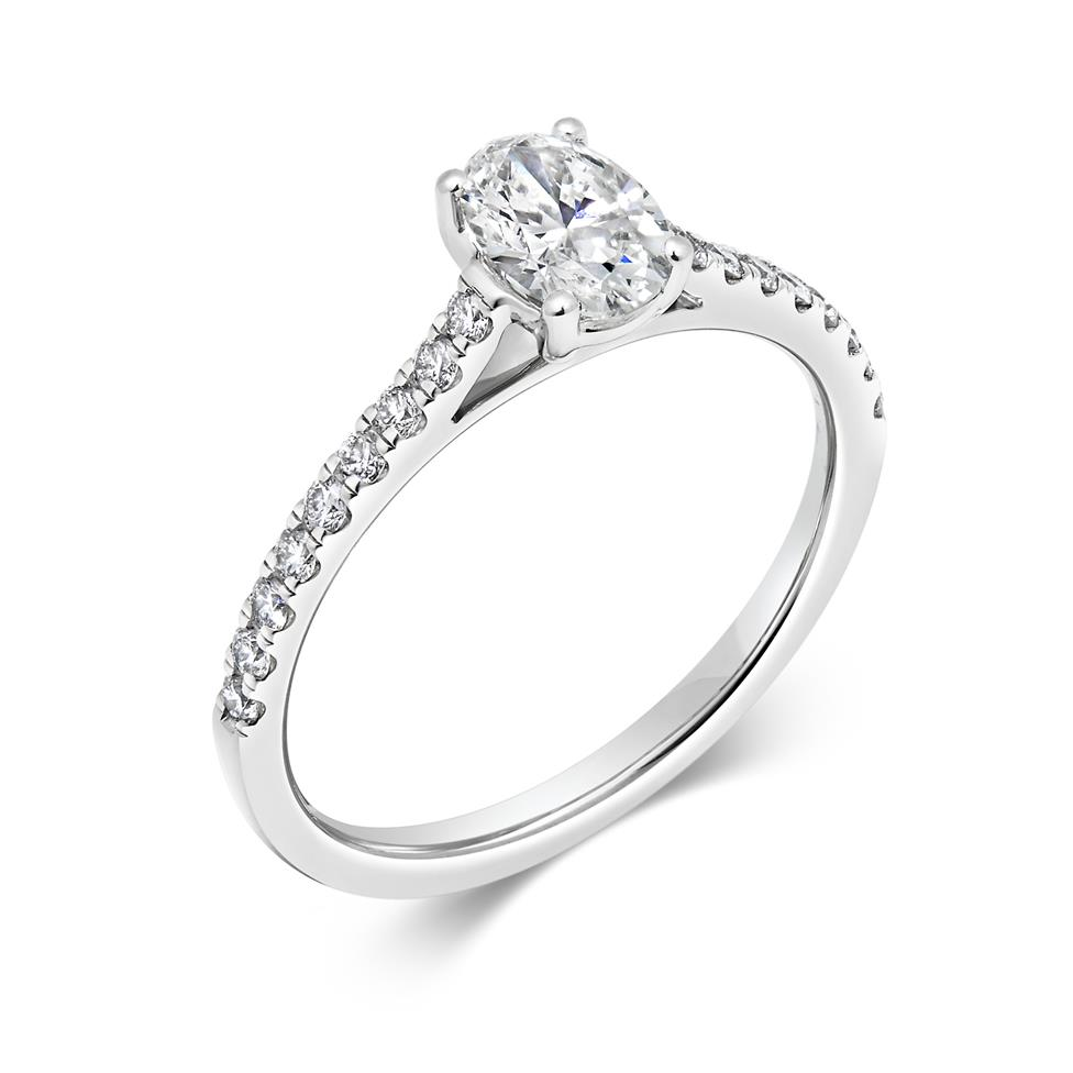 Platinum Oval Diamond Solitaire Engagement Ring 0.75ct Thumbnail Image 0