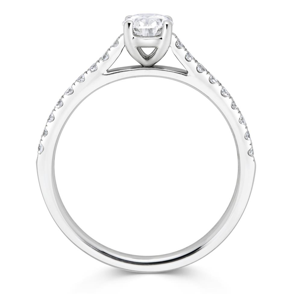 Platinum Oval Diamond Solitaire Engagement Ring 0.75ct Thumbnail Image 2
