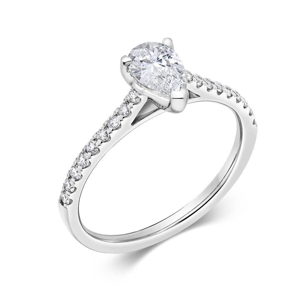 Platinum Pear Shape Diamond Solitaire Engagement Ring 0.75ct Thumbnail Image 0