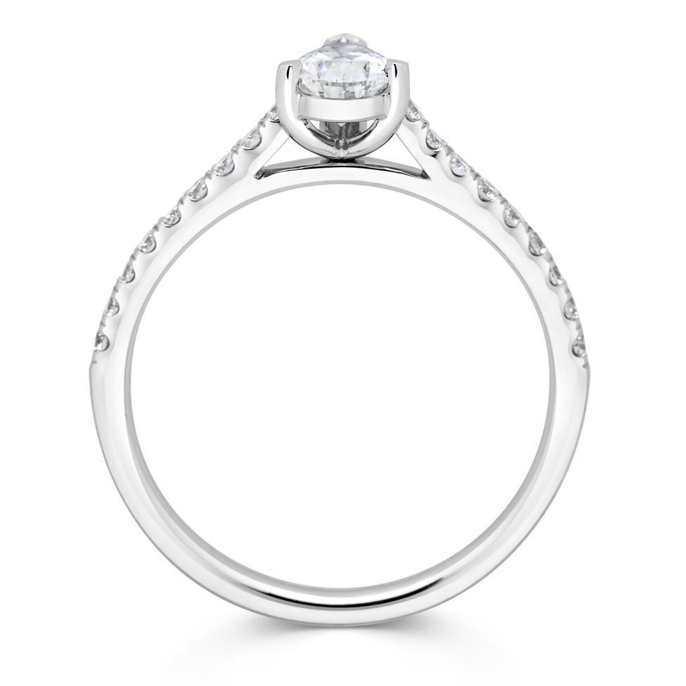 Platinum Pear Shape Diamond Solitaire Engagement Ring 0.75ct Thumbnail Image 2