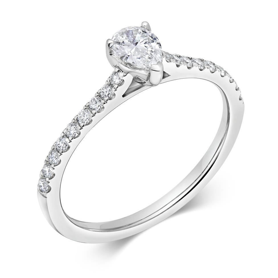 Platinum Pear Shape Diamond Solitaire Engagement Ring 0.53ct Thumbnail Image 0