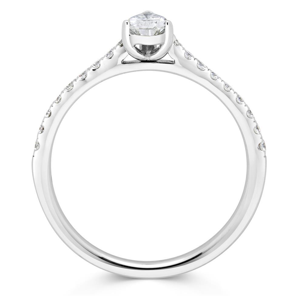 Platinum Pear Shape Diamond Solitaire Engagement Ring 0.53ct Thumbnail Image 2