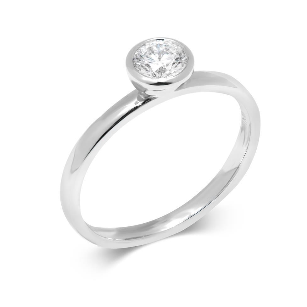 Platinum Rubover Detail Solitaire Diamond Engagement Ring 0.40ct Thumbnail Image 0